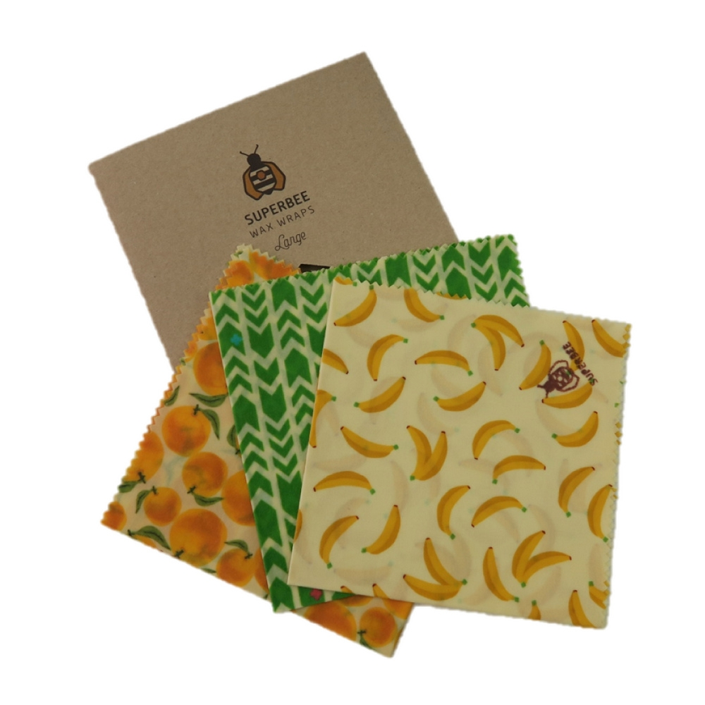SuperBee 蜂蠟保鮮布 Wax Wraps (330x330mm~ 3條套裝 Set of 3)