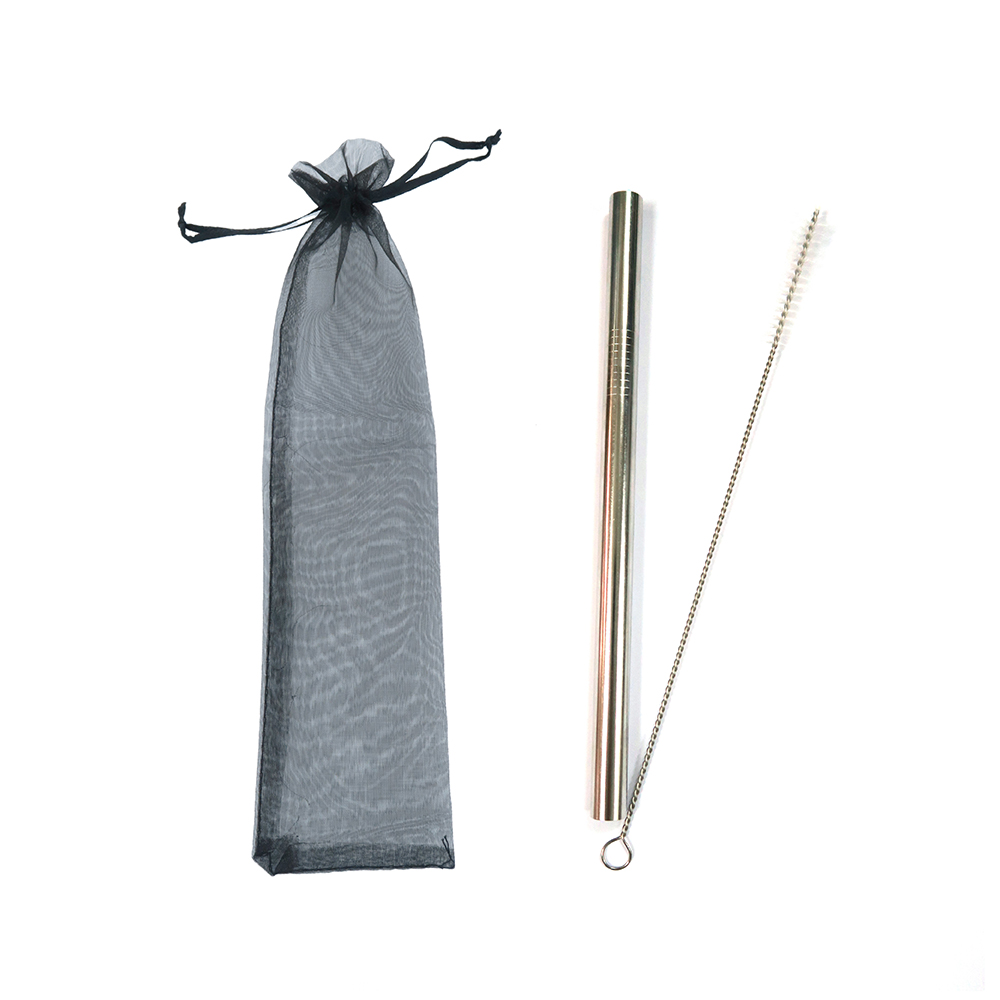 珍珠奶茶不鏽鋼飲管(直身)連刷子及束口袋 Stainless Steel Straw for Pearl Milk Tea (Straight) w/Brush & Bag