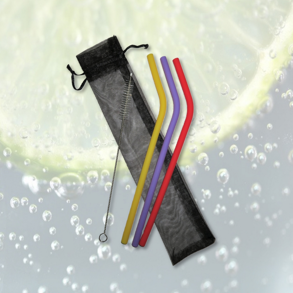 矽膠飲管套裝 (3支曲幼身)連刷子及束口袋 Silcone Straw Set (3 Angled) w/Brush & Bag
